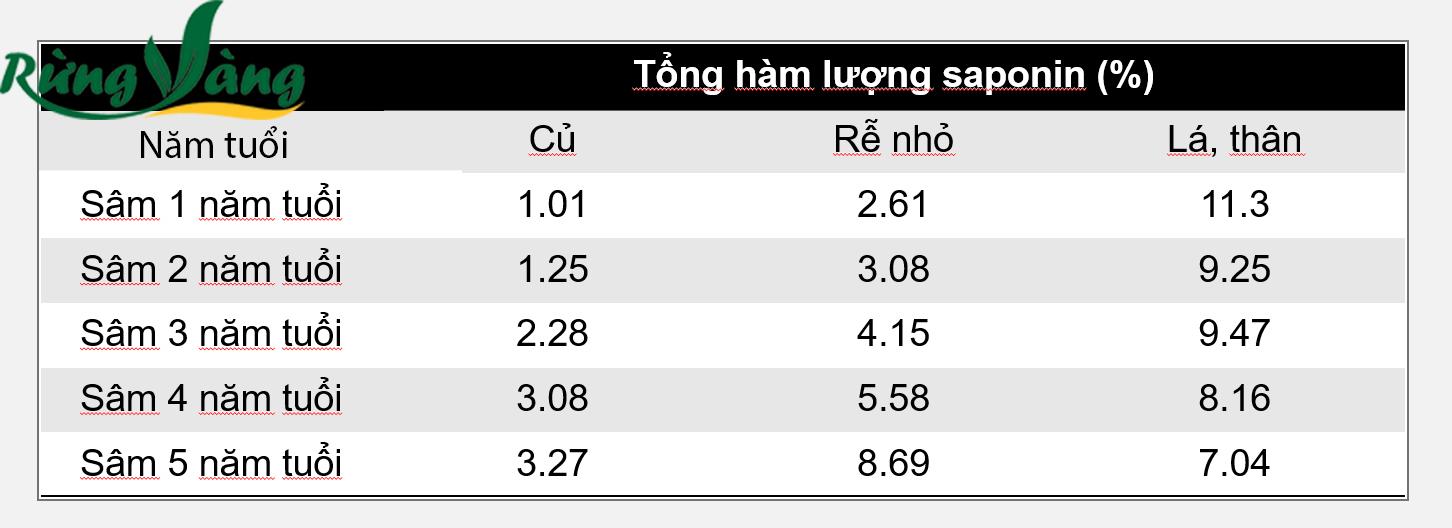 Bảng kết quả hàm lượng nhân sâm saponia